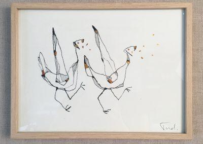 Birds-encre sur papier et dorure à la feuille-18x24cm