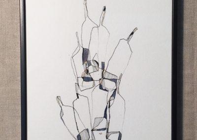 Bottles dance-encre sur papier-30x40cm