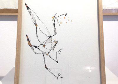 Bird-encre sur papier et dorure à la feuille-18x24cm