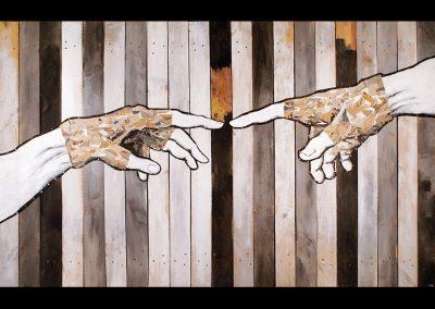 Michel&Angelo-acrylique et collages sur toile clouée sur panneau de bois-220x125cm
