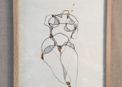 Venus-encre sur papier et dorure à la feuille-18x24cm